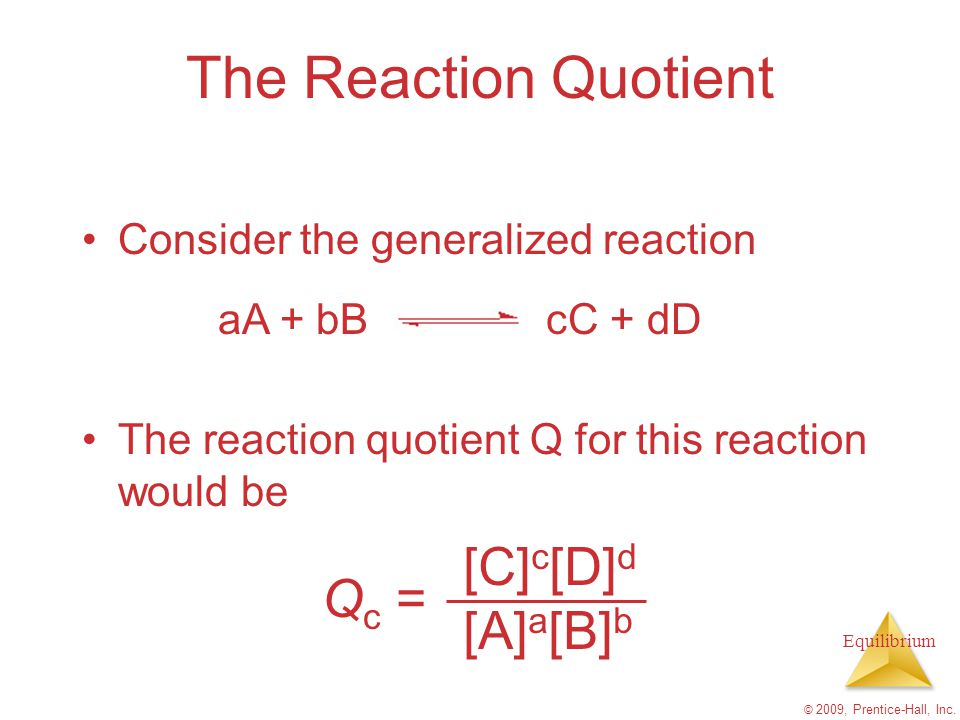 The Reaction Quotient Qc = [C]c[D]d [A]a[B]b